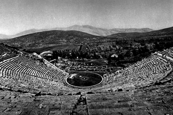 The theatre in Epidauros (Greece), from 350 before our time of reckoning.